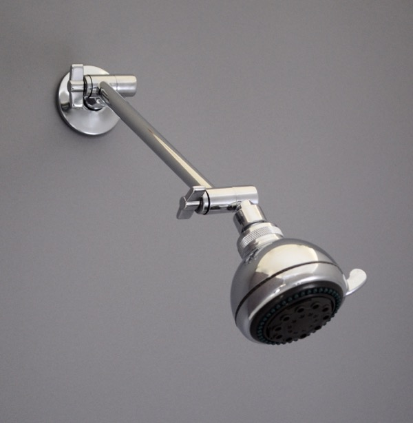Chrome Extension Arm w Showerhead - Down GREY