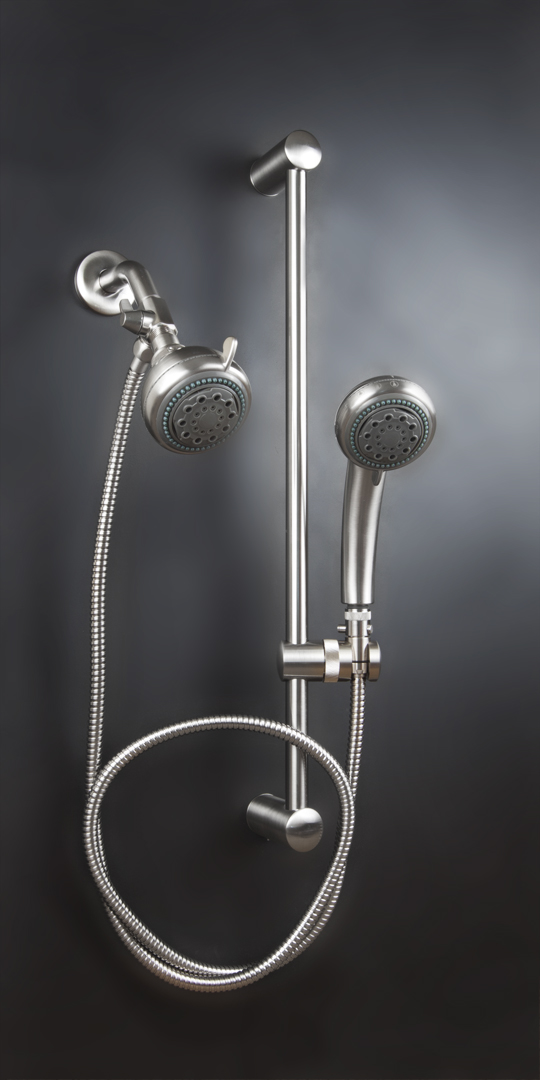 Dual Shower Head With Slide Bar Double System