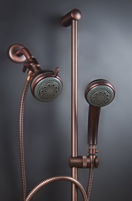 Dual Mariner Shower Heads With Slide Bar