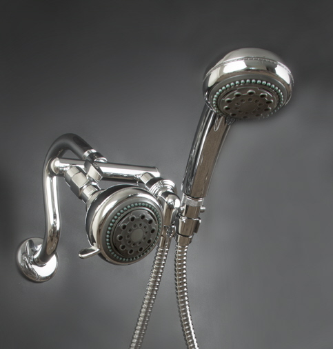 mermaid dual shower heads with brass shower bracket
